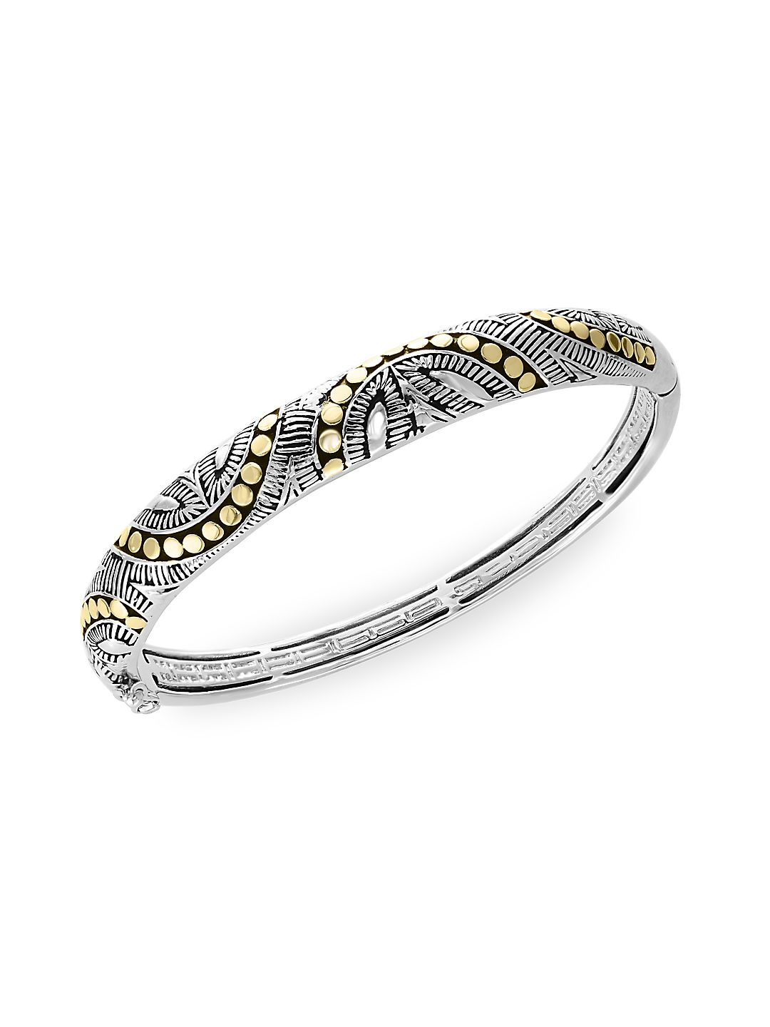 925 Sterling Silver and 18K Yellow Gold Bangle Bracelet