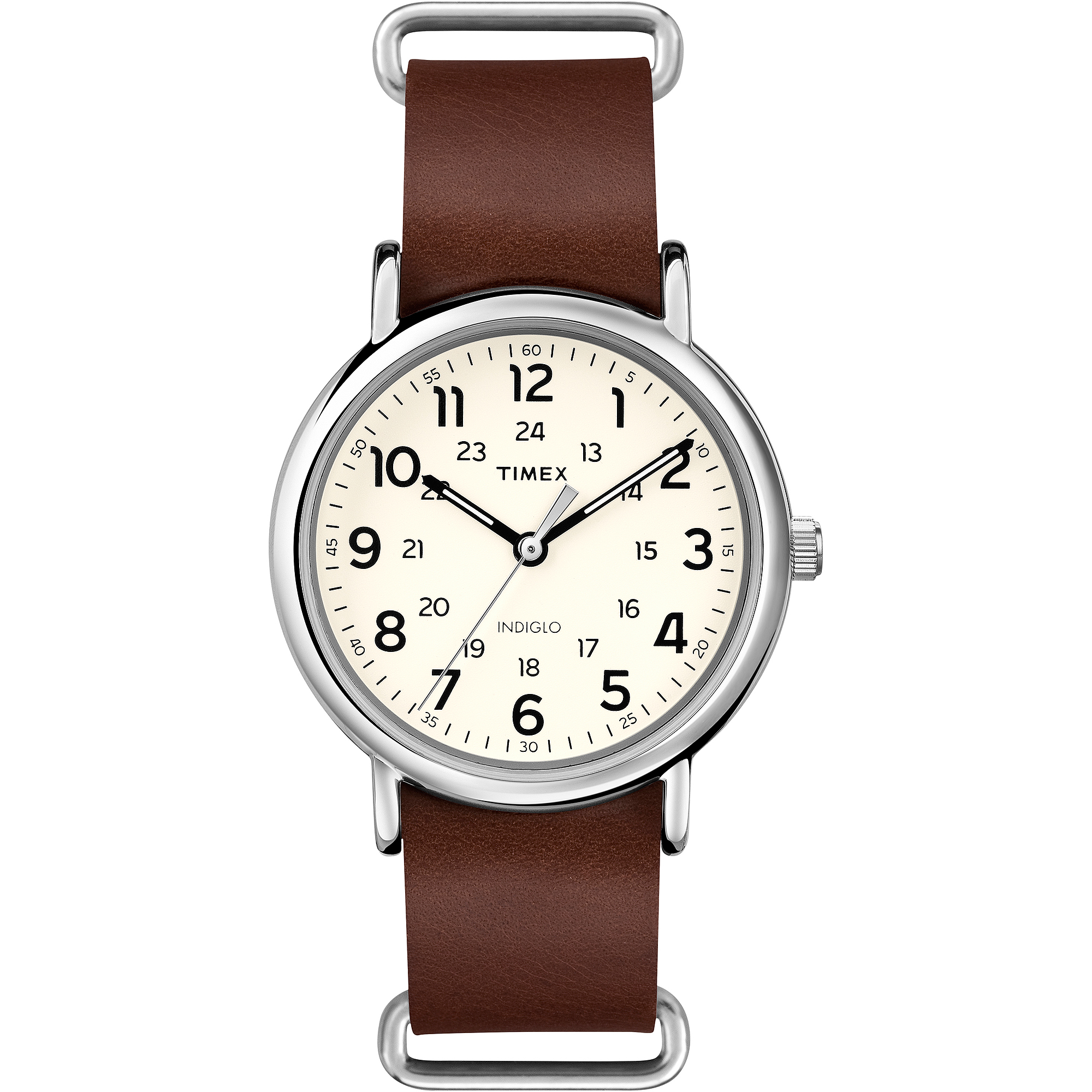 Timex Weekender Forty Watch, Brown Leather NATO-Style Slip-Thru Strap by Timex