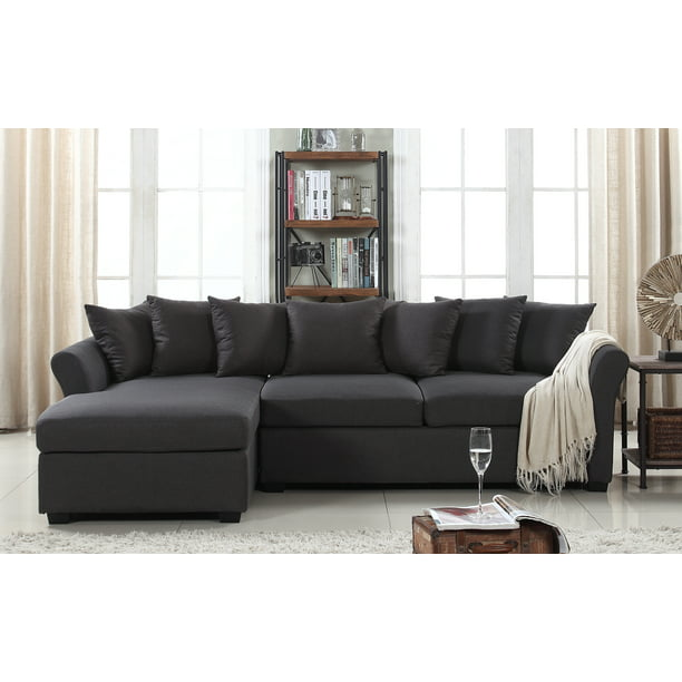 Classic L Shape Couch Large Linen, Oversized Sectional Sofas With Chaise