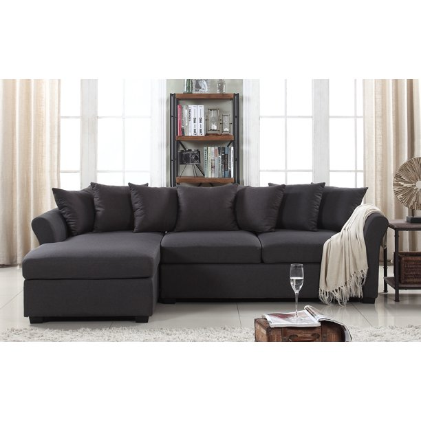 Classic L Shape Couch Large Linen, Large Sectional Sofa With Chaise Lounge