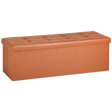 Ollieroo Faux Leather Folding Storage Ottoman Bench Seat Foot Stool Coffee Table (Orange).