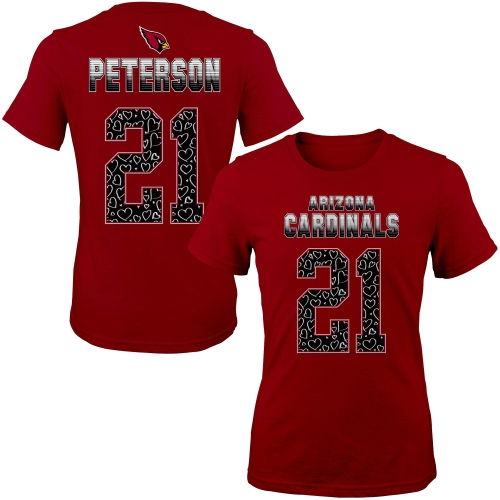 Arizona Cardinals Patrick Peterson Girls Youth Fade Route Name & Number T-Shirt - Cardinal