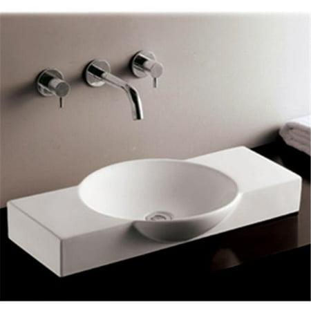Rectangular Above Mount - Whitehaus WHKN1110 Ceramic Rectangular Above Mount Bathroom Sink Basin