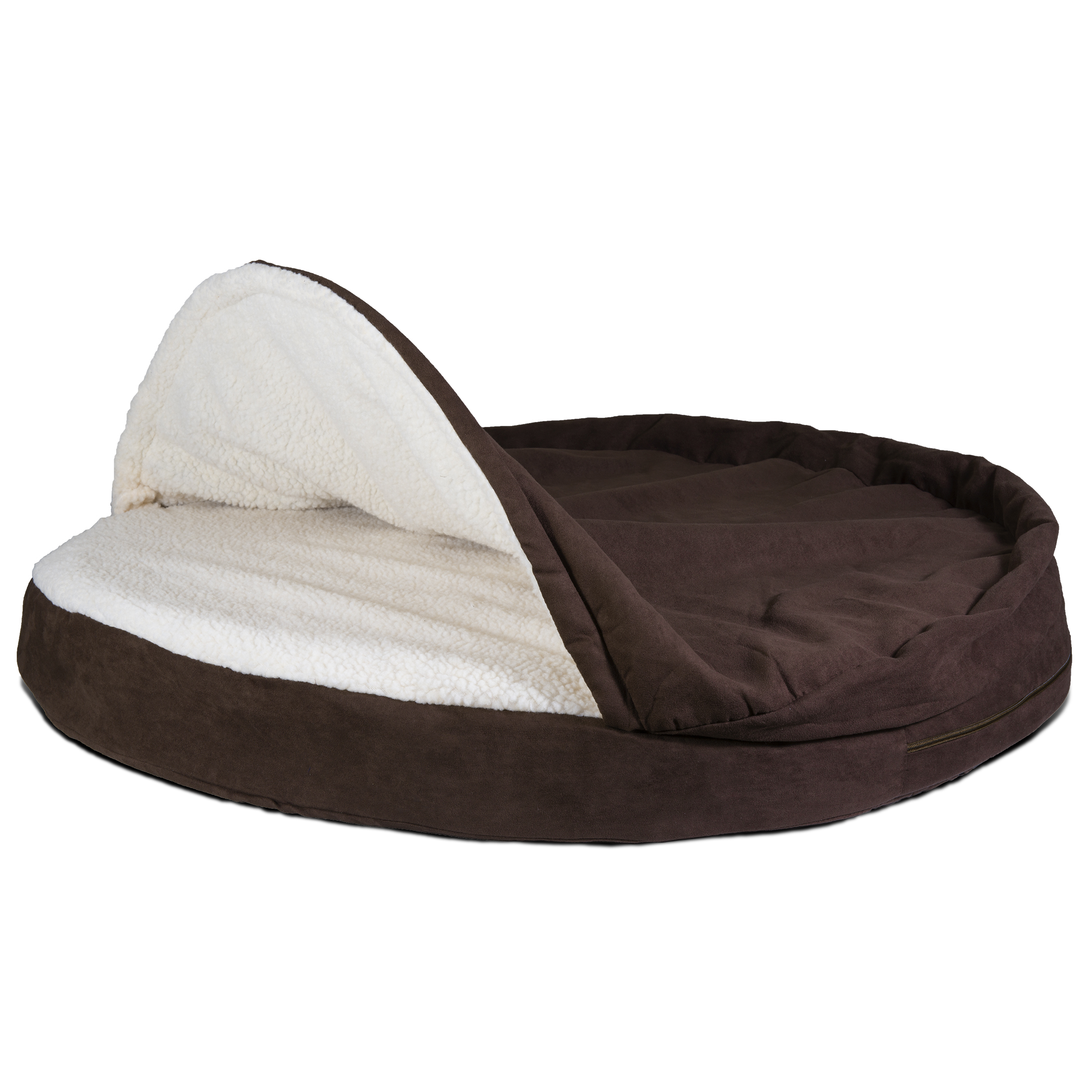 FurHaven Pet Dog Bed | Cooling Gel Memory Foam Orthopedic Round Faux Sheepskin Snuggery Pet Bed for Dogs & Cats, Espresso, 35-Inch