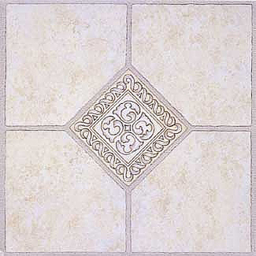 "Home Dynamix Madison Vinyl Tile Area Rugs - 2783  Grey Ceramic Accent Scrolls Rug - 12"" x 12"