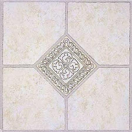 Home Dynamix Madison Vinyl Tile Area Rugs - 2783  Grey Ceramic Accent Scrolls Rug - 12