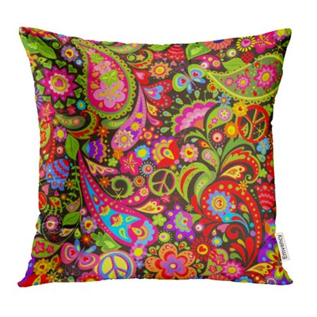 ARHOME Psychedelic Vivid with Colorful Flowers Peace Symbol and Paisley 70S 60S Pillowcase Cushion Cover 18x18 inch (70s Psychedelic Dress)