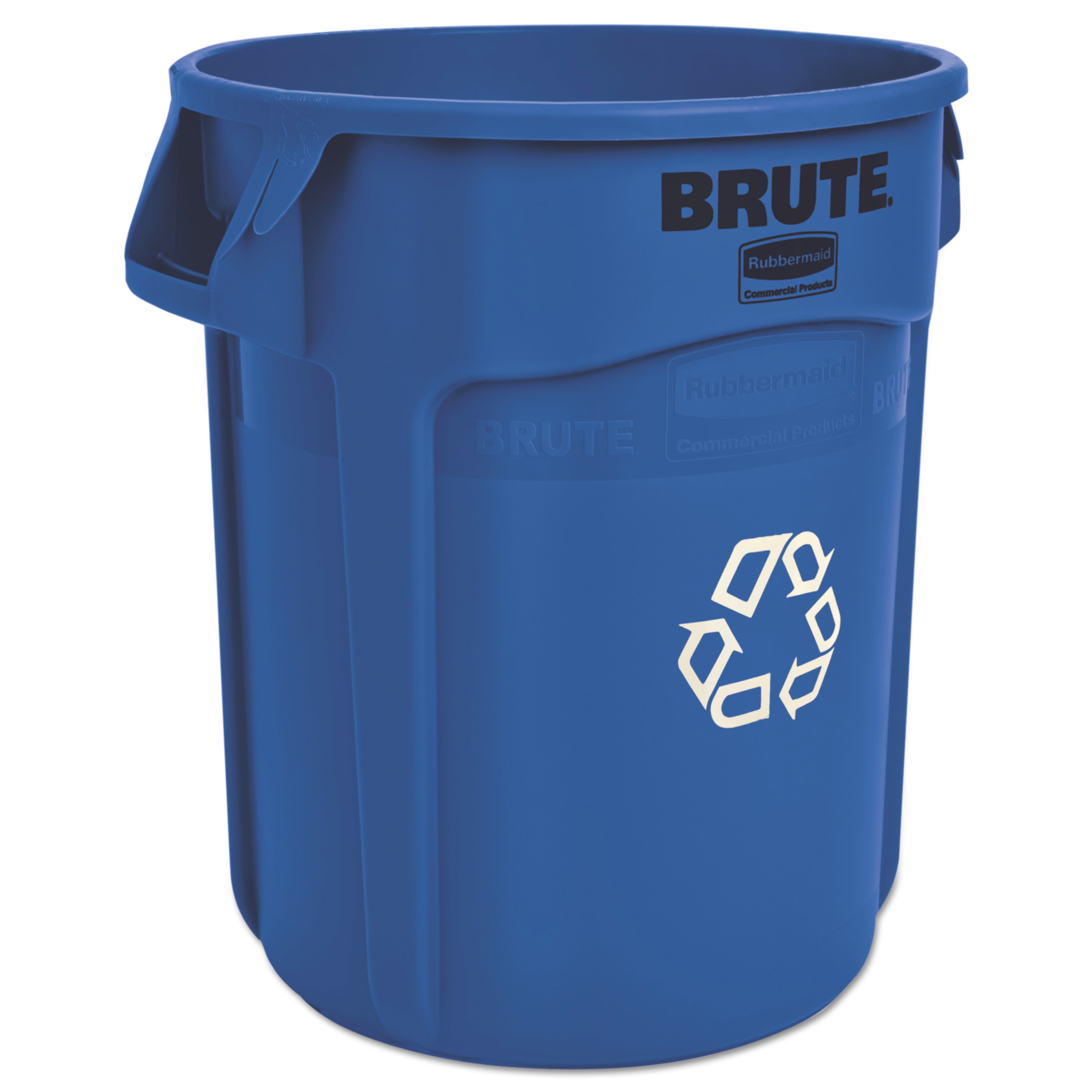 Rubbermaid Commercial Brute Recycling Container  Round  20 gal  Blue. Blue Trash Cans   Recycle Bins   Walmart com