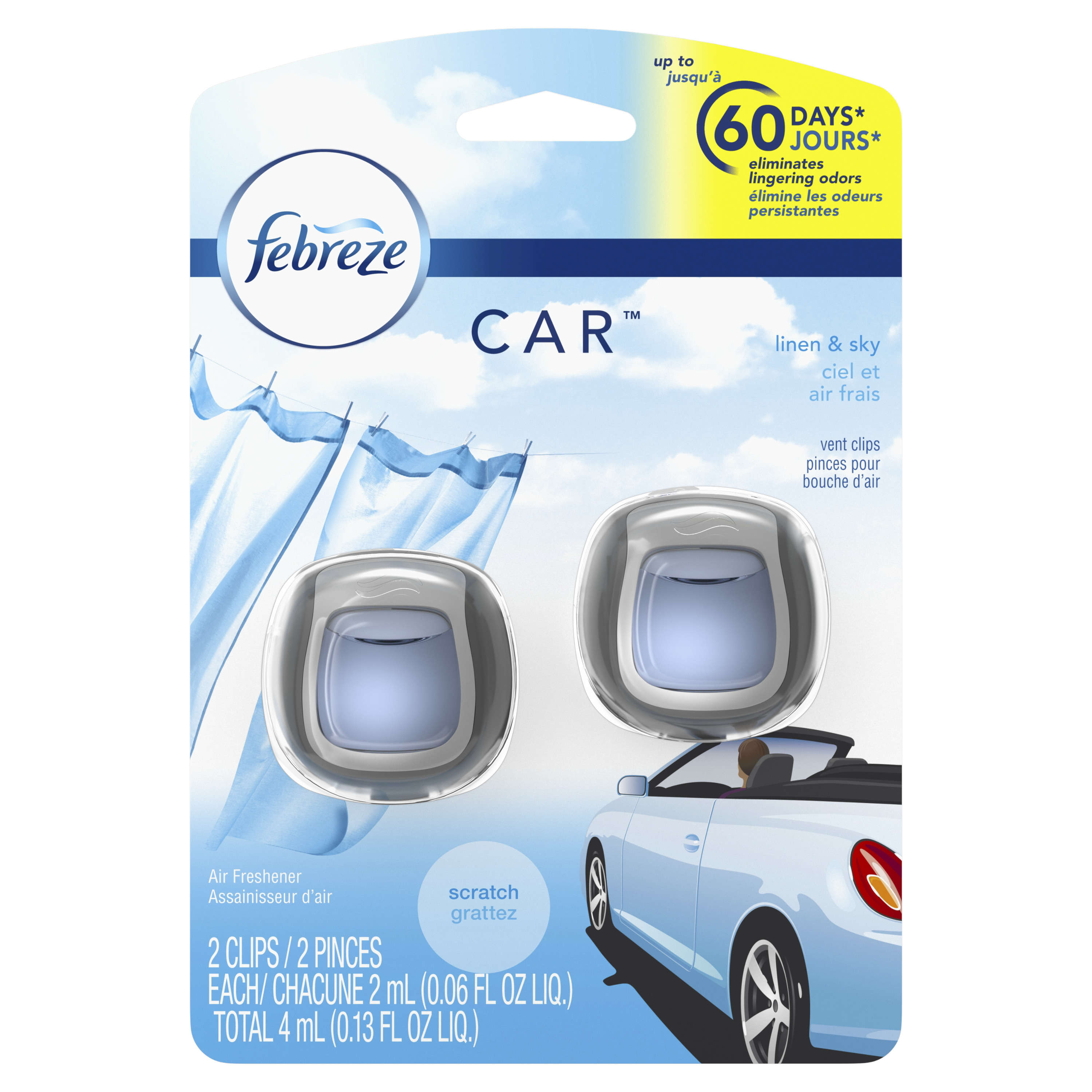 Febreze Car Air Freshener, Linen & Sky, 2 count
