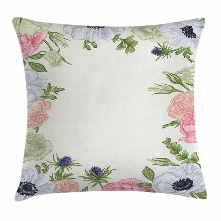 Anemone Flower Throw Pillow Cushion Cover Spring Nature Inspired Framework With Pastel Colored Flora