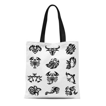 ASHLEIGH Canvas Tote Bag Tattoo Tribal Signs of the Zodiac White Arrow Bow Reusable Shoulder Grocery Shopping Bags (Best Tribal Shoulder Tattoos)