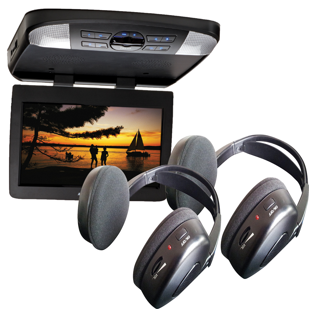 Audiovox AVXMTG13UHD 13' LED Overhead DVD Player w/ 2 Wireless IR Headphones, pewter