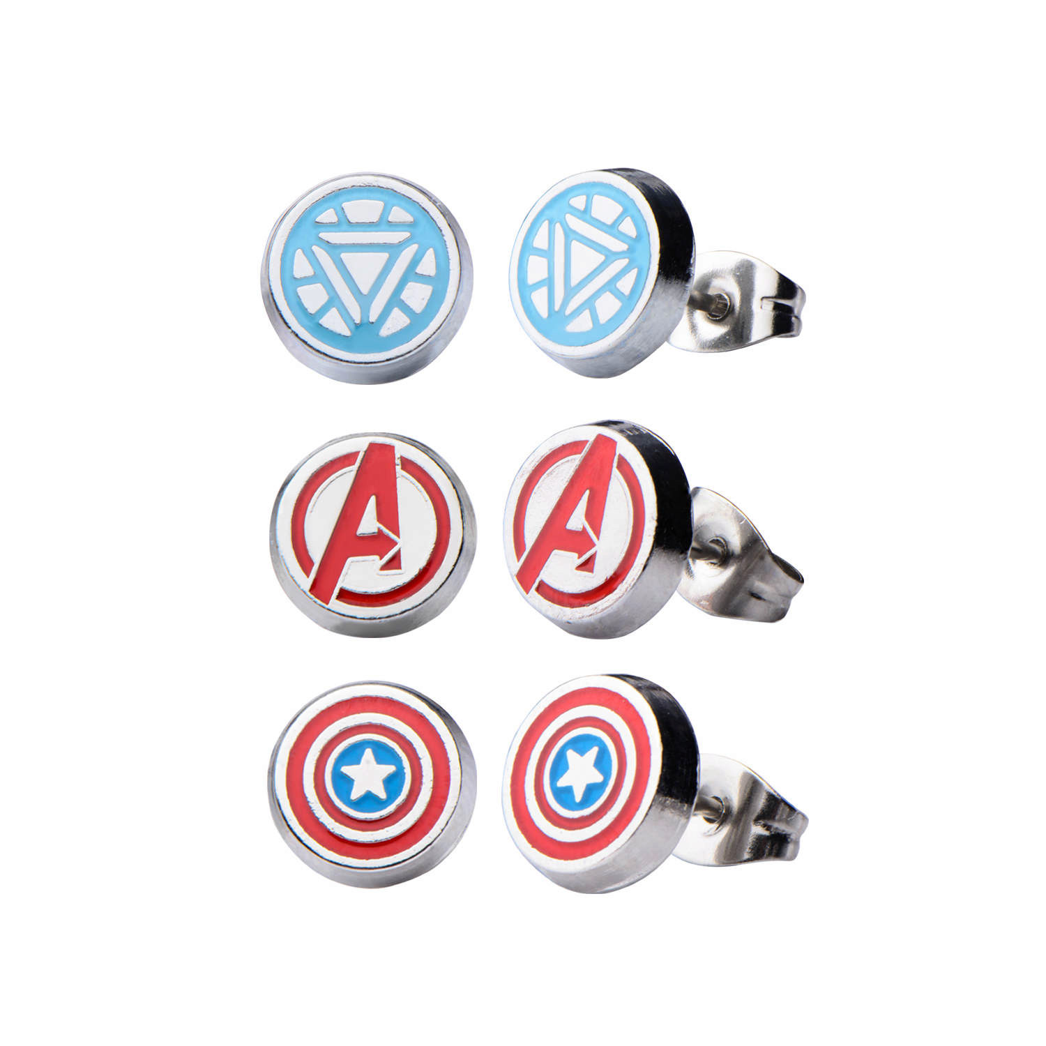Stainless Steel Avenger Logo, Captain America, and Iron Man 3 pack Round Stud Earrings