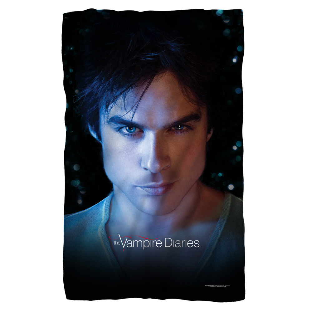 Trevco Vampire Diaries Damon Eyes Fleece Blanket White 48X80