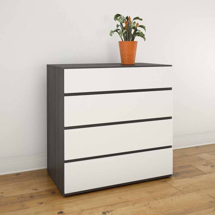 Nexera 4-Drawer Chest, Ebony and White