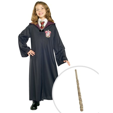 Harry Potter Gryffindor Robe Child Costume and Hermione Wand Harry Potter Costume Accessory (Harry Potter Dress Up Hermione)