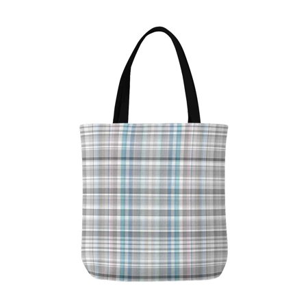ASHLEIGH Abstract Latticework Plaid, Elegant Gray Gingham Check Canvas Tote Canvas Shoulder Bag Resuable Grocery Bags Shopping Bags for Women Men Kids