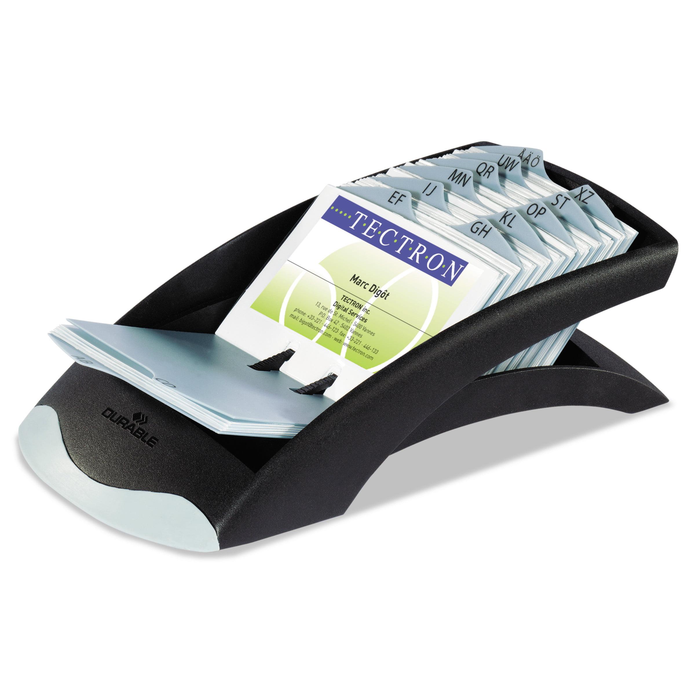 Durable VISIFIX Desk Business Card File, Holds 200 4 1/8 x 2 7/8 Cards, Graphite/Black -DBL241301