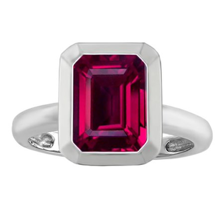 Star K 9x7mm Emerald Cut Octagon Solitaire Ring with Created Ruby in Sterling Silver Size 6