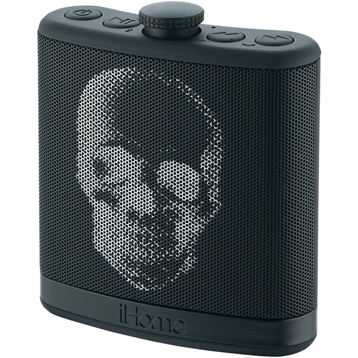 iHome Rechargeable Flask-Shaped Bluetooth Stereo Speaker with Custom Sound Case, Black Skull
