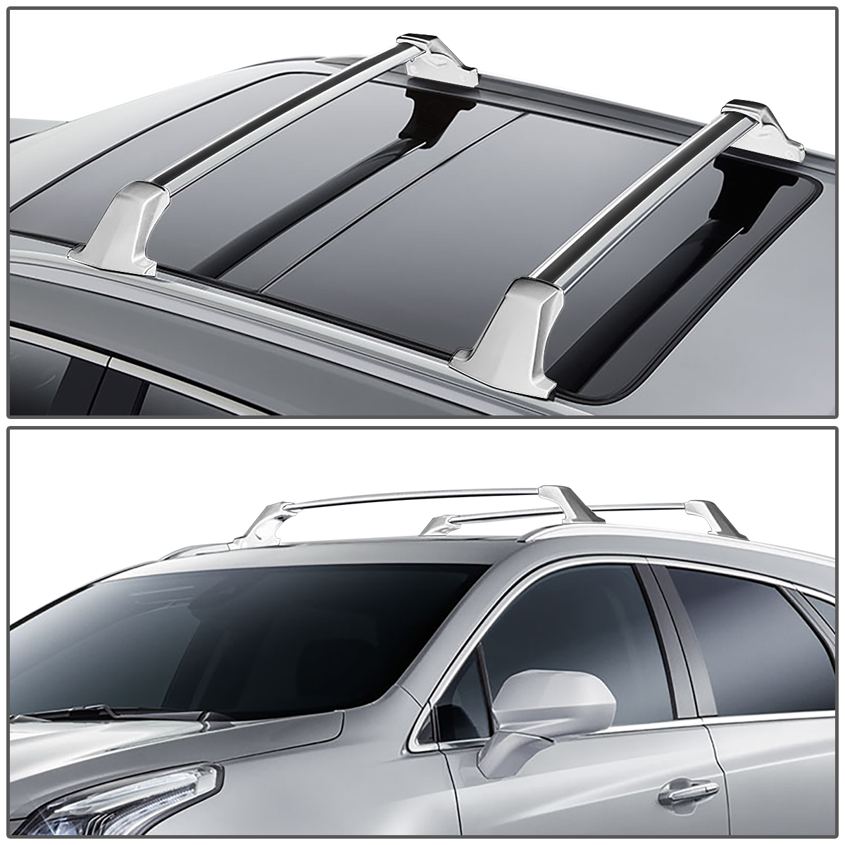 Pair OE Style Aluminum Roof Rack Rail Cross Bars Cargo Carrier Replacement for Cadillac XT5 17-19