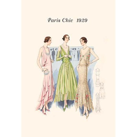 Page from a 1920s fashion catalog from France with the lastest in womens attire Poster Print by unknown - 1920s Attire