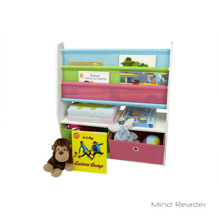 Mind Reader Toy Storage Organizer Kids Book Organizer with Folding Drawers for Toddler Toys, Multi Color