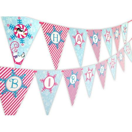 Winter Wonderland Pink Happy Birthday Banner Pennant - Winter Onederland Birthday Banner