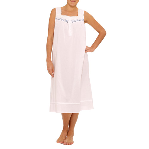 Celestial Dreams Collection Women's Plus Sleeveless Woven Gown with Lace Trim