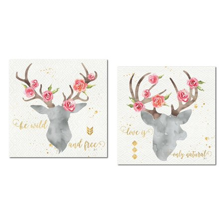 Lovely Watercolor-Style Floral Deer Head Silhouette by Jess Aiken; Cabin Decor; Two 12x12in Posters. Grey/Gold/Pink