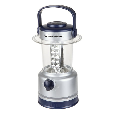 LED Lantern, Outdoor Camping Lantern Flashlight With Adjustable Brightness, Dimmer Switch And Built-In Compass By Wakeman Outdoors (Silver) - Lighted Lanterns