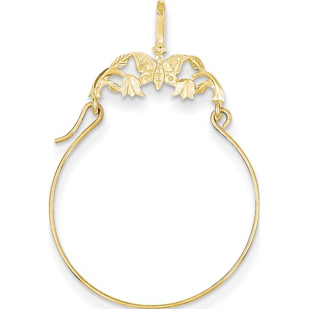 Leslies Fine Jewelry Designer 14k Yellow Gold Polished Butterflies Holder (20x35mm) Pendant Gift