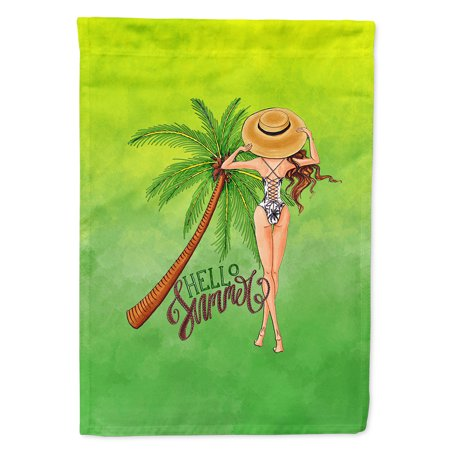 Image of Hello Summer Lady in Swimsuit Flag Canvas House Size