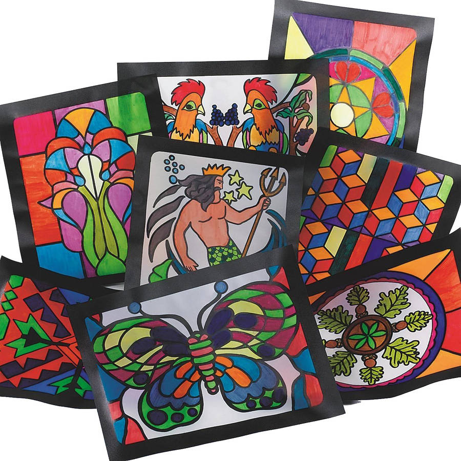Image of Stained Glass Windows, Pack of 16