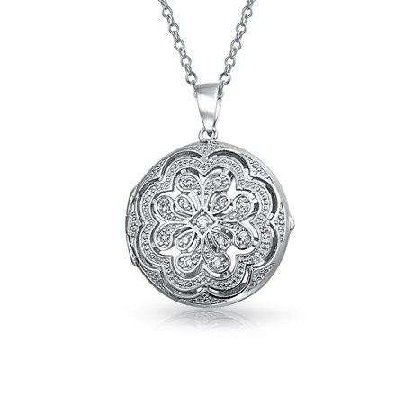 Vintage Style Small Round Flower CZ Accent Heart Pendant Necklace Locket For Women For Teen 925 Sterling Silver - image 5 de 5