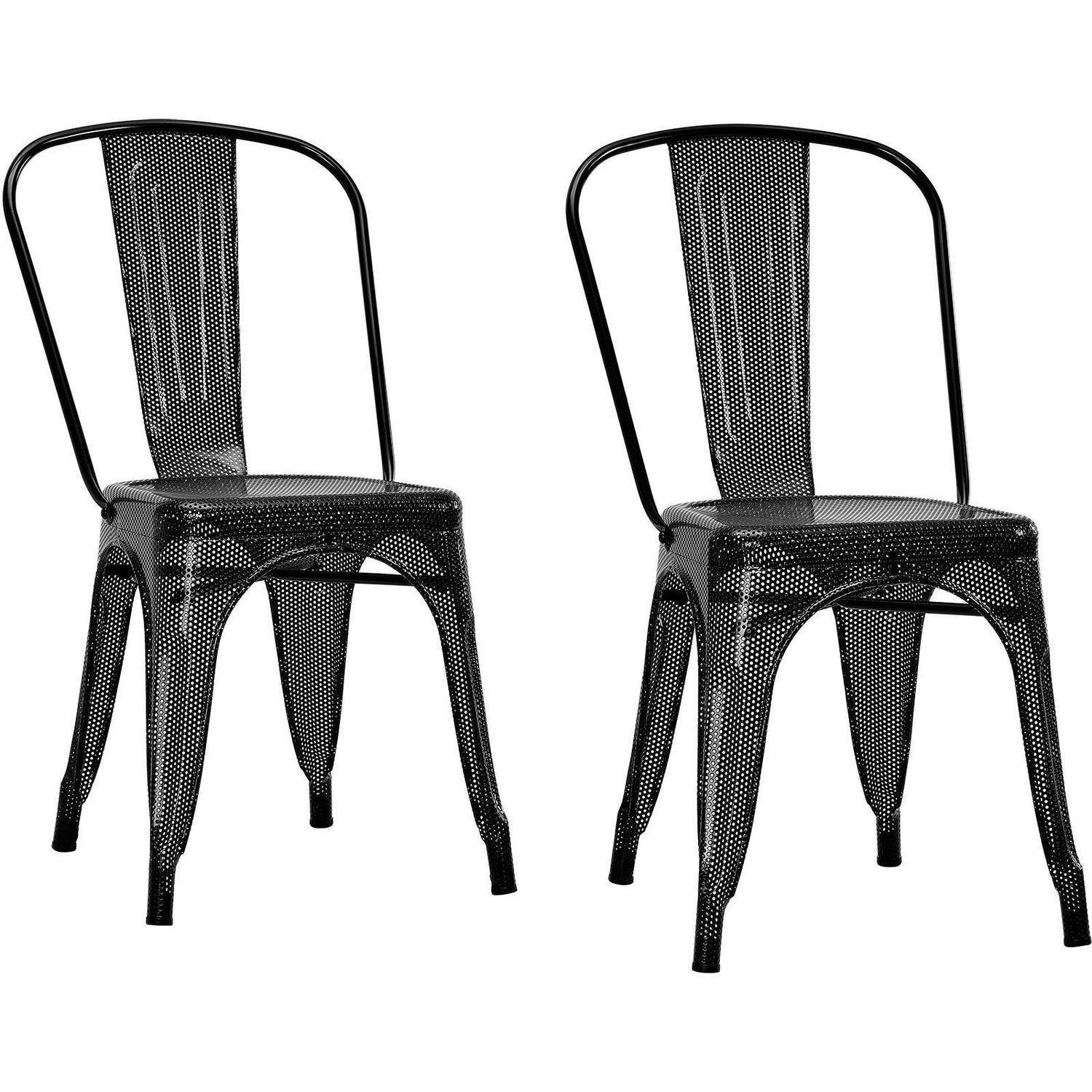 Black Metal Dining Chairs metal dining chairs - walmart
