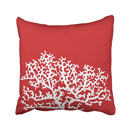 WinHome Square Throw Pillow Covers Red Nautical Coral Reef Simple Pattern Pillowcases Polyester 18 X 18 Inch With Hidden Zipper Home Sofa Cushion Decorative -