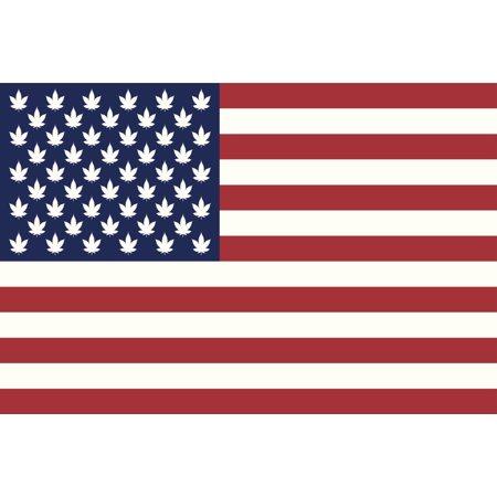 American Hemp Flag Marijuana Art Print Poster 18X12
