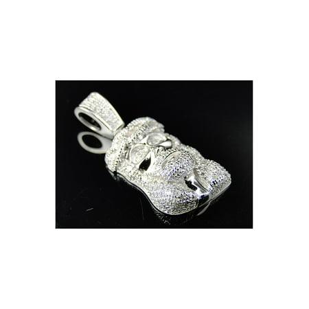 Mini Jesus Piece Diamond Pendant in White Gold Finish(.70ct)