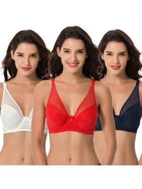 Curve Muse Women's Plus Size Minimizer Unlined Underwire Full Coverage Bra-3PK-NAVY,RED,LT GREEN-34C