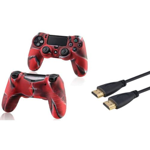 Insten Black 3FT Ver2 M/M High Speed HDMI Cable+Camouflage Navy Red Case for Sony PS4 Playstation 4