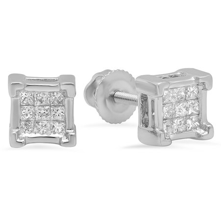 0.49 Ct Princess Shape - 0.25 Carat (ctw) 18K White Gold Princess Cut White Diamond Ladies Square Shape Stud Earrings 1/4 CT