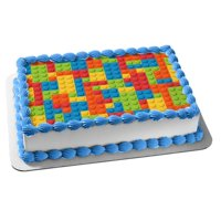 Lego Base Building Block Pattern Edible Cake Topper Image