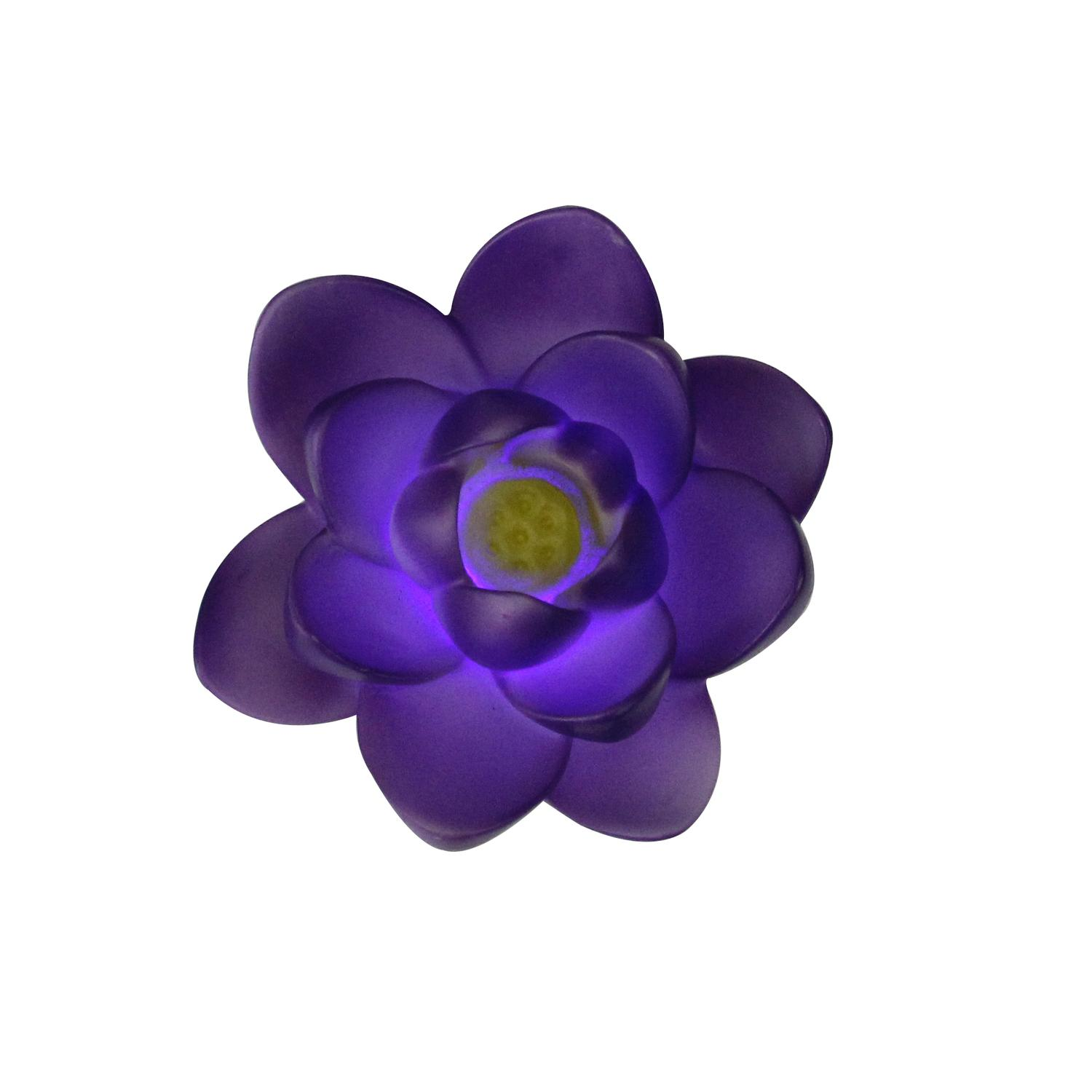 """4"""" Floating Purple Flower LED Color Changing Patio or Swimming Pool Light - image 2 of 2"""