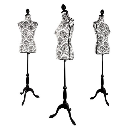 GHP Fiberglass Female Mannequin Torso Dress Form Cloth Display w Black Tripod Stand