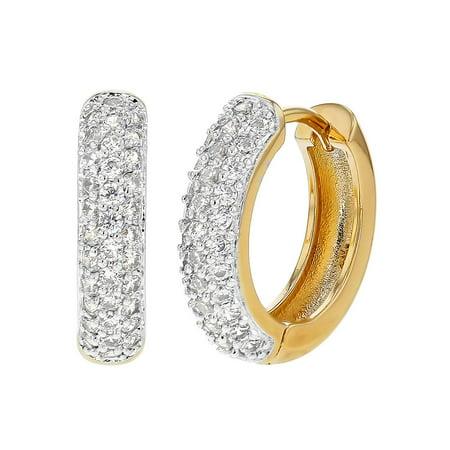 """Gold Tone Clear Crystal Elegant Hoop Huggie Earrings 0.70"""""""