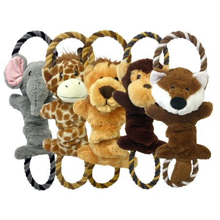 Multipet Pull and Squeak Assorted Animals Dog Toy One Toy (Toy May Vary)