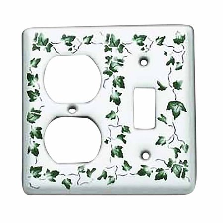 Switch Plate White Porcelain Ivy Toggle/Outlet (Ivy Porcelain)