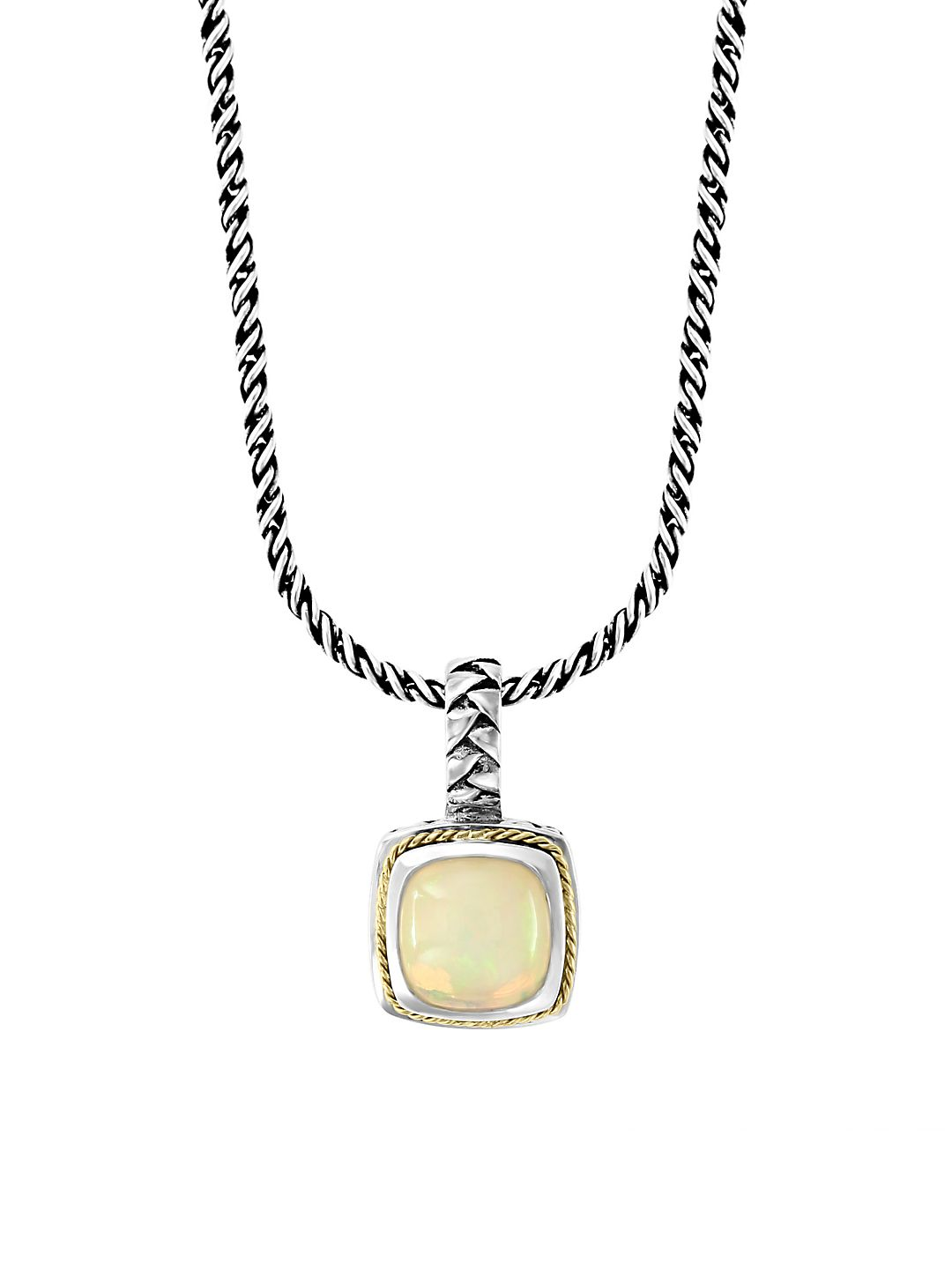 Sterling Silver, 18K Yellow Gold & Opal Pendant Necklace
