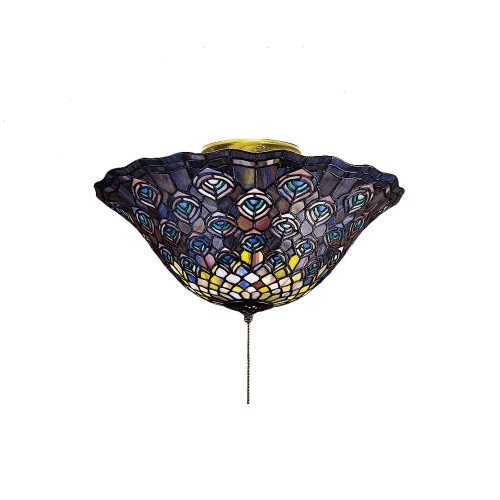 "Meyda Tiffany 27435 Tiffany Peacock Feather 3 Light 16"" Wide Flush Mount Ceiling Fixture with Tiffany Glass Shade"